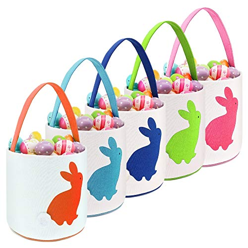 "Easter Bunny Basket for Egg Hunts. Rabbit Cartoon Decorated Cylinder Shape Bag with Handle. Dual Layer Bunny Picture Handbag for Kids to Carry Eggs, Gifts, Presents. 10"" x 10"" (Cylinder 5 Pack)"