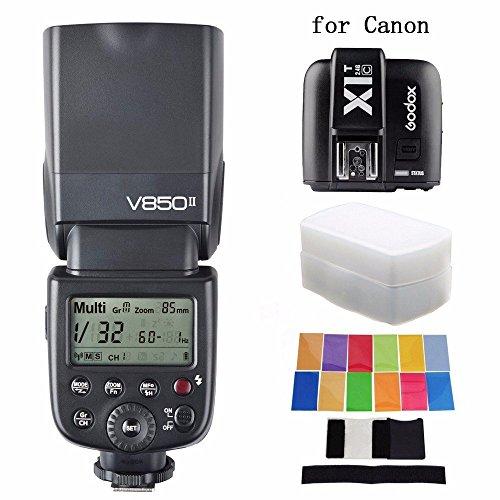 Godox更新されv850ii gn60フラッシュ+ x1t-c Tranmitter + EACHSHOTディフューザー+カラーフィルタ v850 II内蔵2 4 GサポートマスタースレーブLi Ionバッテリーfor Canonの商品画像