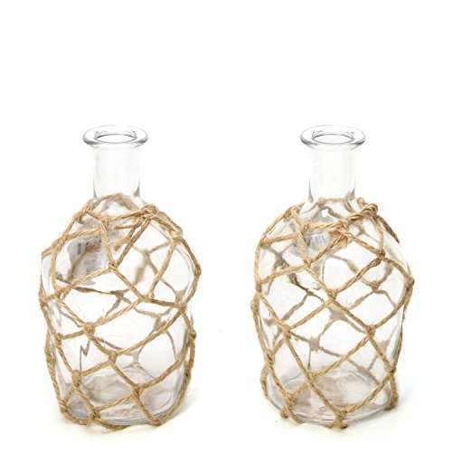 Hosley Set of 2 Glass Floral Rose Vases, Rope Wrapped, Coastal Style. Ideal Gift for Floral Arrangements Spa, Aromatherapy, Nautical Votive Tea Light Candle Garden, Essential Oil Diffuser DWDOO O7 by Hosley (Image #1)