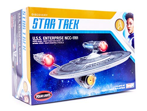 Polar Lights Star Trek Discovery USS Enterprise - 1/2500 Scale Snap Assembly Plastic Model Kit - Buildable Vintage Spacheship for Kids and Adults from Polar Lights