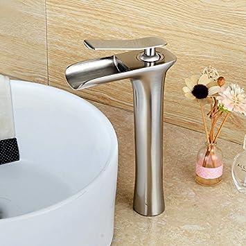 n/íquel, con manguera de entrada, dise/ño /único Wovier Grifo monomando para lavabo
