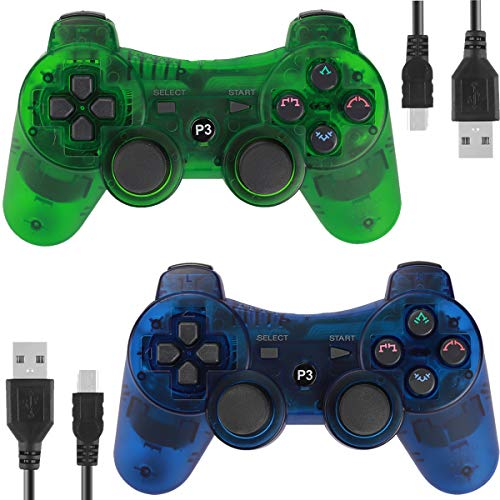 (Wireless Controllers for PS3 Playstation 3 Dual Shock, Bluetooth Remote Joystick Gamepad for Six-axis with Charging Cable,Pack of 2(ClearBlue and CLearGreen))