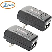 iCreatin 2-Pack Wall PoE Injector Power Over Ethernet Adapter 802.3af 48V 24W 0.5A for Security IP Cameras IP Phones, 10/100Mbps