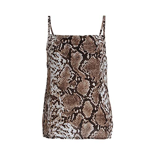 Women Camisole Snakeskin Sexy Sleeveless Backless Top Chiffon Tanks V Neck Vest Casual Loose Blouse Shirts (L) Brown