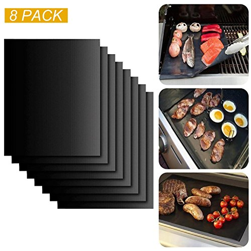 Grill Mats, ISUDA Nonstick Grill Mats for Gas Grills, Essential Grilling Accessories for Home Cooks and Grillers FDA-Approved, PFOA Free, Reusable with - Set of 8