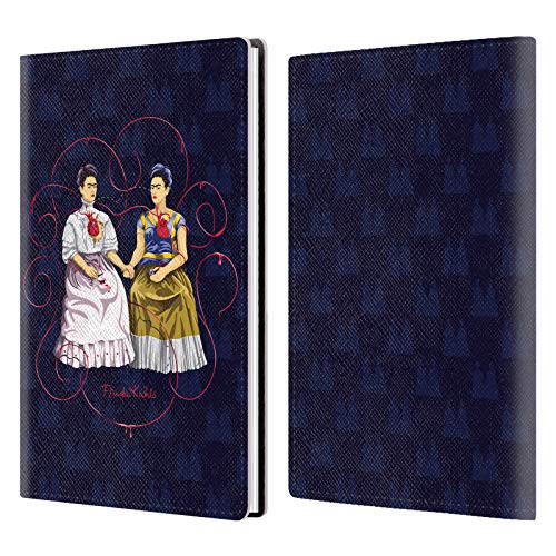 Official Frida Kahlo Blue Background Self-Portraits White Gray Leather Passport Holder