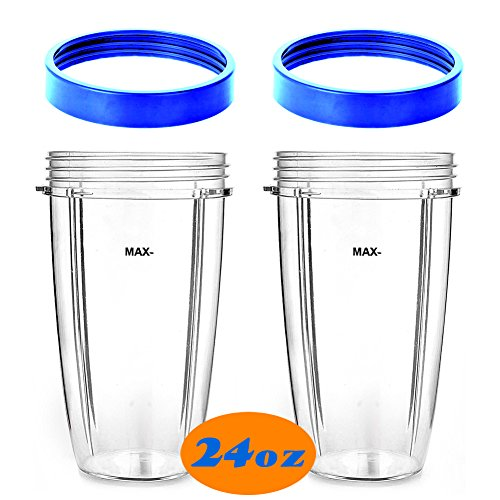 KORSMALL Replacement Parts for 900W 600W NutriBullet 2 Pack Tall Cups with 2 Blue Lip Rings,24oz, Clear