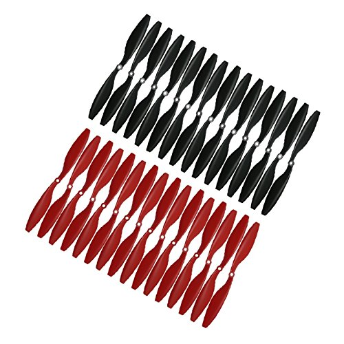 RAYCorp 1045 (10x4.5) Propellers. 32 Pieces(16CW, 16CCW) Black & Red 10-inch Quadcopters & Mutlirotors Props + Battery Strap