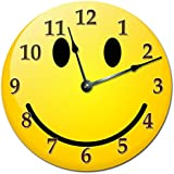 """SMILEY FACE CLOCK Extra Large 15.5"""" to 16"""" Wall Clock - Decorative Round Wall Clock - Home Decor"""