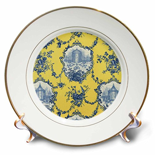 Plate Porcelain Toile (3dRose Garden French Toile. Yellow and blue. Popular toile print. - Porcelain Plate, 8-inch (cp_218087_1))