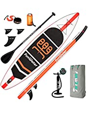 FunWater SUP Inflatable Stand Up Paddle Board 11'x33''x6'' Ultra-Light Paddleboard with ISUP Accessories,Fins,Adjustable Paddle, Pump,Backpack, Leash, Waterproof Bag