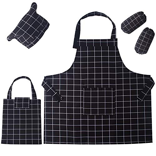 5 Pieces Kids Chef Apron Set,Adjustable Cotton Aprons With 2 Pockets For Those Child's Chefs In Training (Black plaid, Medium(suitable for 6-12 years old)) ()