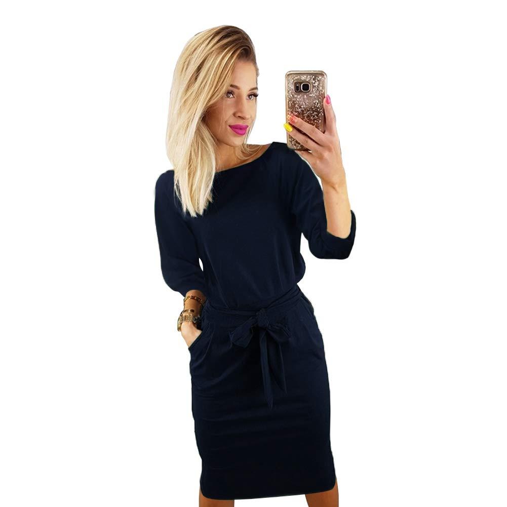 TALLA XL(ES 42). Longwu Vestido de Manga Corta Elegante de Las Mujeres para Trabajar el Vestido Ocasional del lápiz con la Correa Azul Oscuro XL(ES 42)