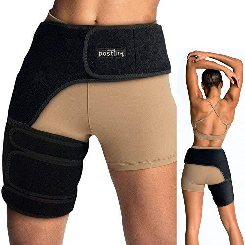Vriksasana Groin Hip Brace | Sciatica Support Wrap | Hamstring Compression Sleeve for Men and Women for Pulled Quadriceps Thigh Muscle, Hip Flexor Strain, Bursitis and Arthritis