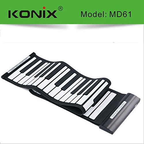 New KONIX USB 61 Key MIDI Flexible Silicone Electronic Roll Up Piano MD61 by Pink Lizard Products (Image #3)
