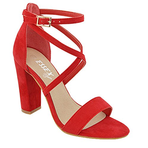 Essex Glam Sintético Sandalias de punta abierta con tira al tobillo y tacón cuadrado Rojo Gamuza Sintética