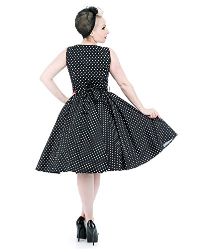 H&R London Damen Kleid 50er Punkte 9058 Schwarz