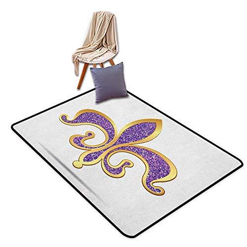 - Anti-Static Rug Fleur De Lis Ornate Heraldic Design in Nostalgic Medieval Icon Antique Ancient Elements Floor Bath Rug W6'xL7'
