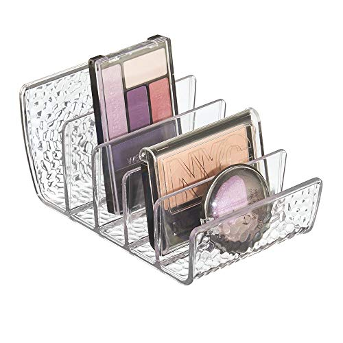 mDesign Plastic Divided Makeup Organizer for Bathroom Countertop, Vanity, Cabinet - Cosmetic Storage Solution for Eyeshadow Palettes, Contour Kits, Blush, Face Powder - Textured, 5 Sections - Clear