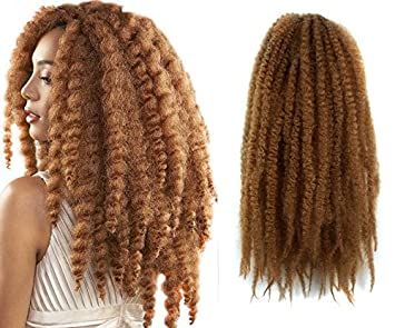 Marley Afro Braid Hair Extensions Kinky Curly Bulk Twist Crochet Braids 32 Strands Pack
