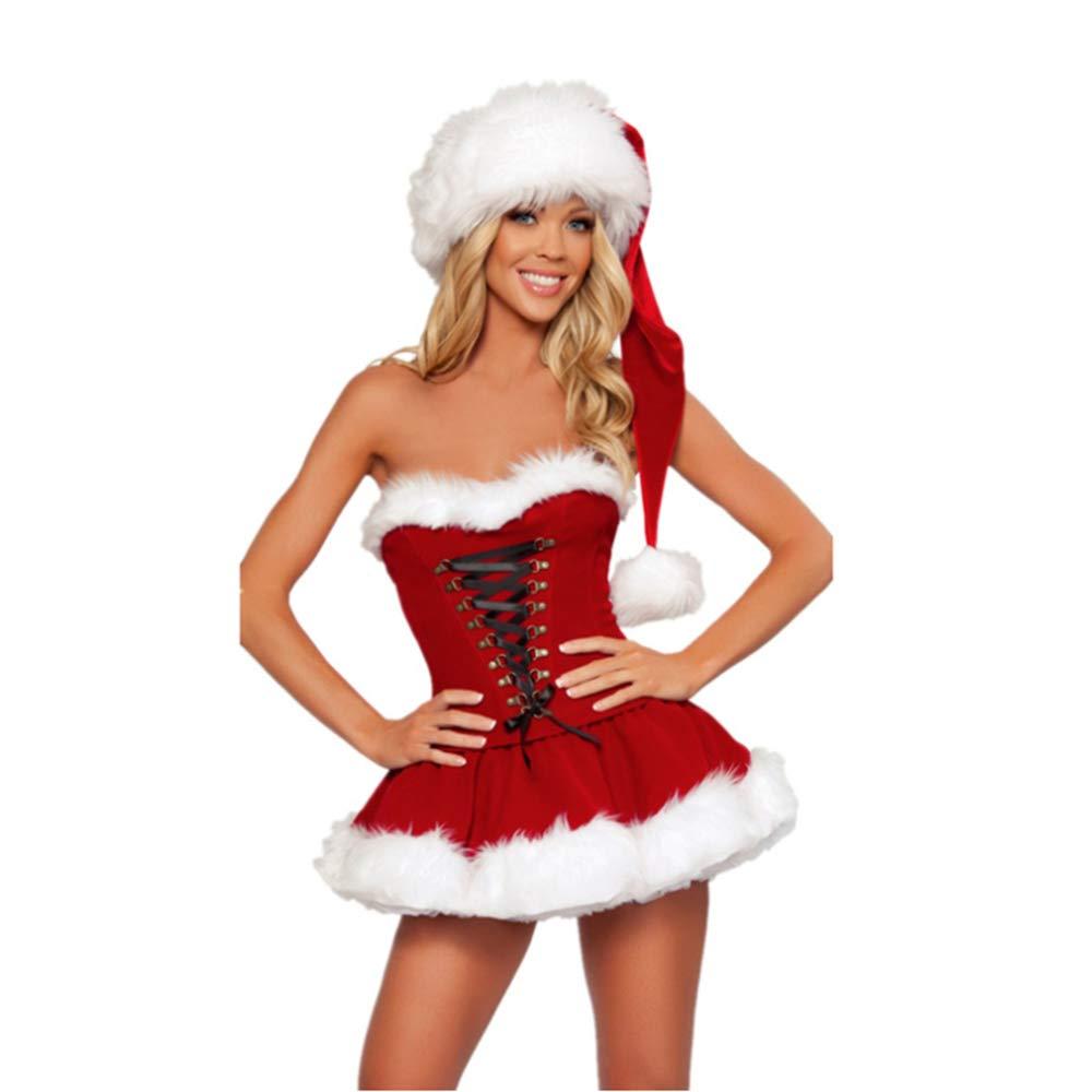 CVCCV rotes Röhrenoberteil Weihnachtskleid Cosplay Weihnachtskostüm Performance Uniform Polyester Stoff Für Frauen B07KC2RDZX Kostüme für Erwachsene Moderate Kosten     | ein guter Ruf in der Welt