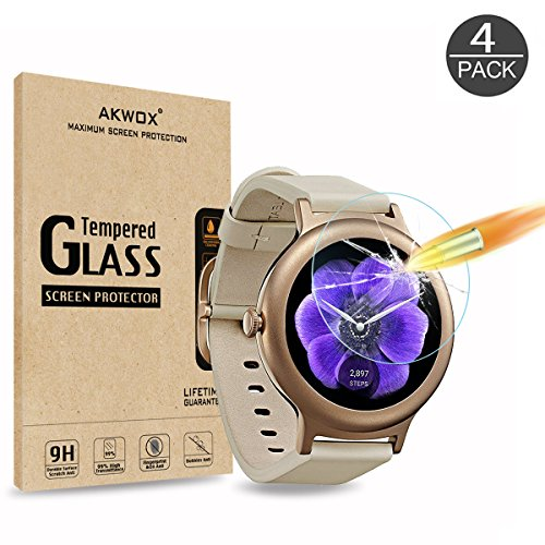 AKWOX (4-Pack) LG Watch Style Screen Protector, Tempered Glass Screen Protector for LG Watch Style Smart Watch 2017 with [Scratch Resistant][Crystal Clear][Bubble-Free]