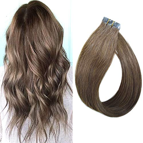 Tape in Hair Extensions Real Human Hairpices Ash Brown 20 Inch Long Soft Silky Straight Remy Hair Extensions with Glue on the Tape, 20 Pcs (Color #8) ()