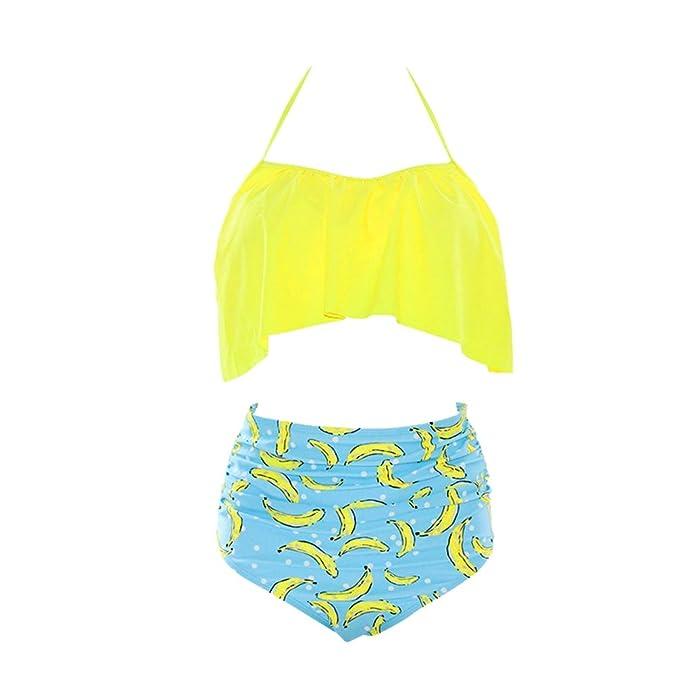 b6065a4aec7a Wanyangg Mujer Bikini Talle Alto Push Up Volantes Bikinis con ...