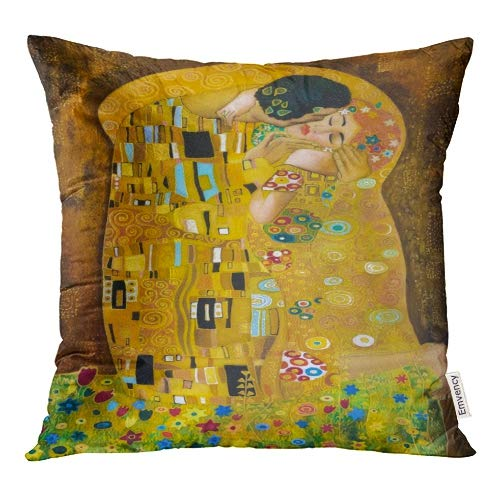 Emvency Decorative Throw Pillow Covers Brown Kiss Klimt Inspired Abstract Batik Painting Grounds of Gustav Purple Modern Pillowcase Cushion Cover Case Protectors Sofa 16x16 Inches Double Sided