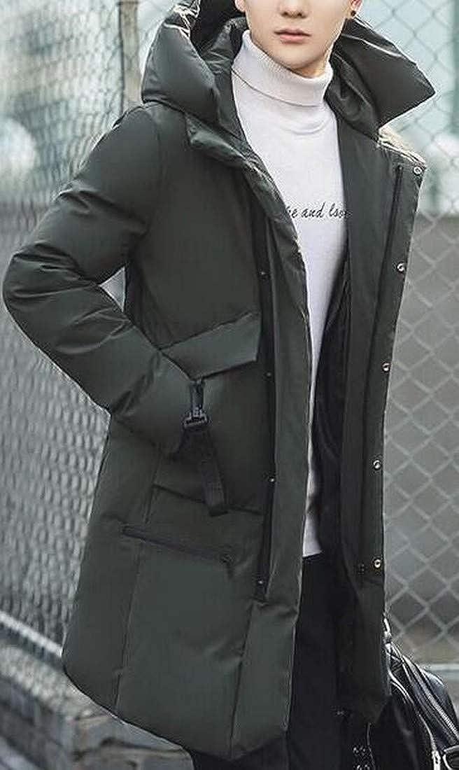 YYG Mens Longline Mutli-Zip Hooded Winter Baggy Hoodie Down Coat Jacket Overcoat