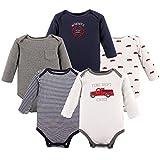 Hudson Baby Baby Infant Long Sleeve Bodysuit 5 Pack, Fire Trucks, 12-18 Months