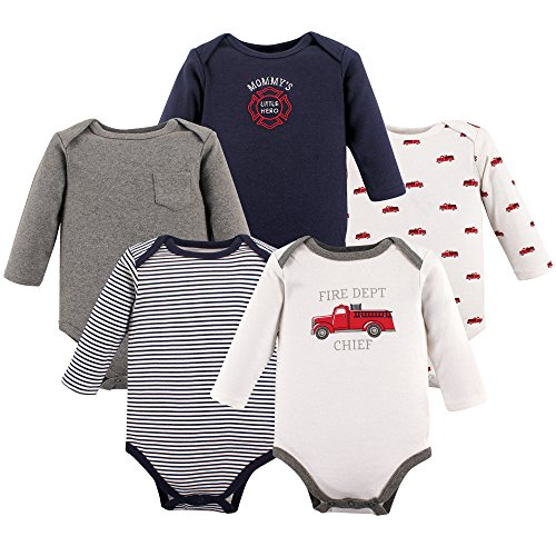 Hudson Baby Unisex Baby Long Sleeve Cotton Bodysuits, Fire Trucks Long Sleeve 5 Pack, 0-3 Months ()