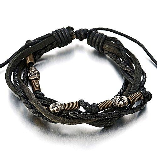- COOLSTEELANDBEYOND Skulls Multi-Strand Black Leather Bracelet for Mens Womens Tribal Leather Wristband Wrap Bracelet