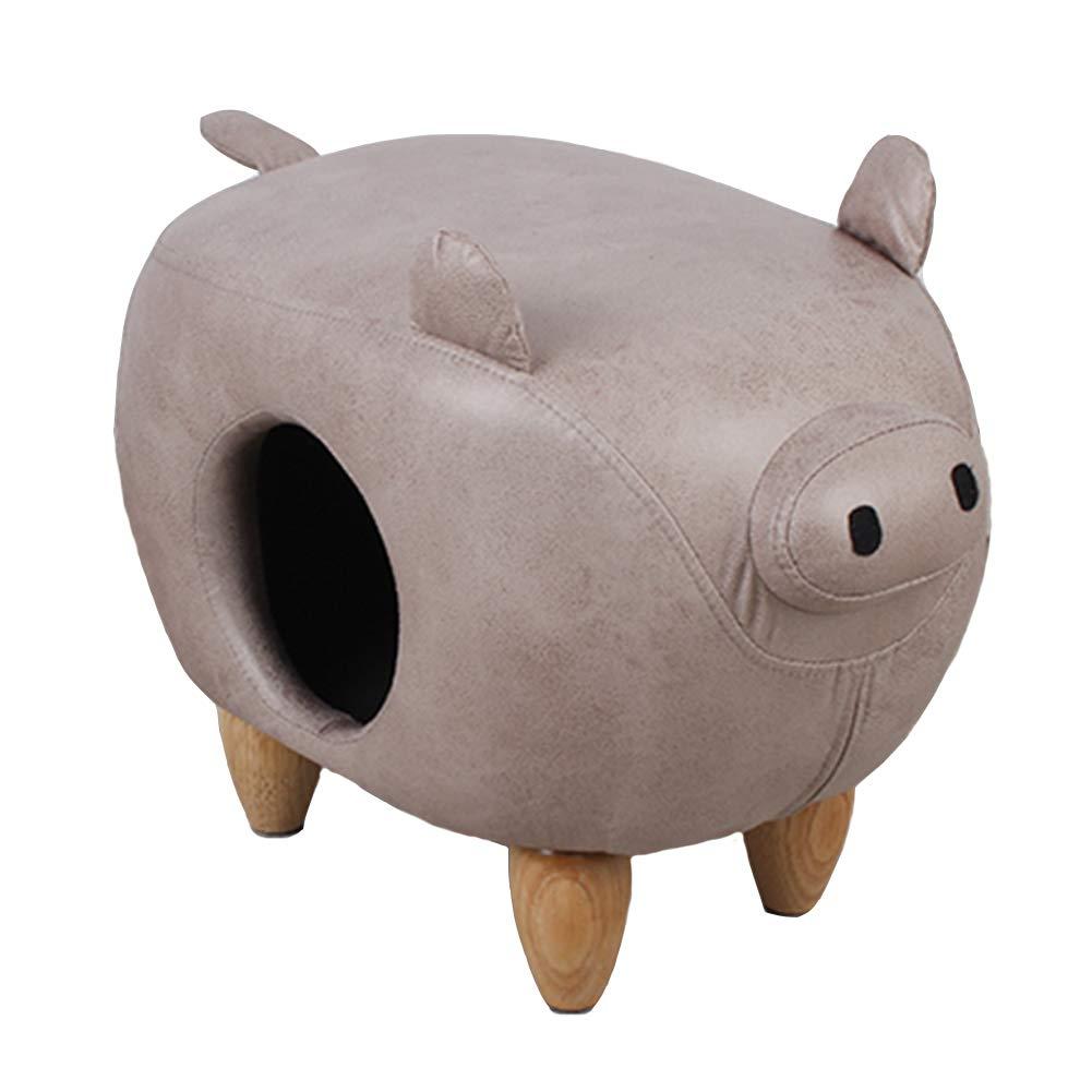 Pig Stool Cat House, Multi-Functional Semi-Enclosed Cat's Nest, PU Leather Pet Nest, Stool,Pig