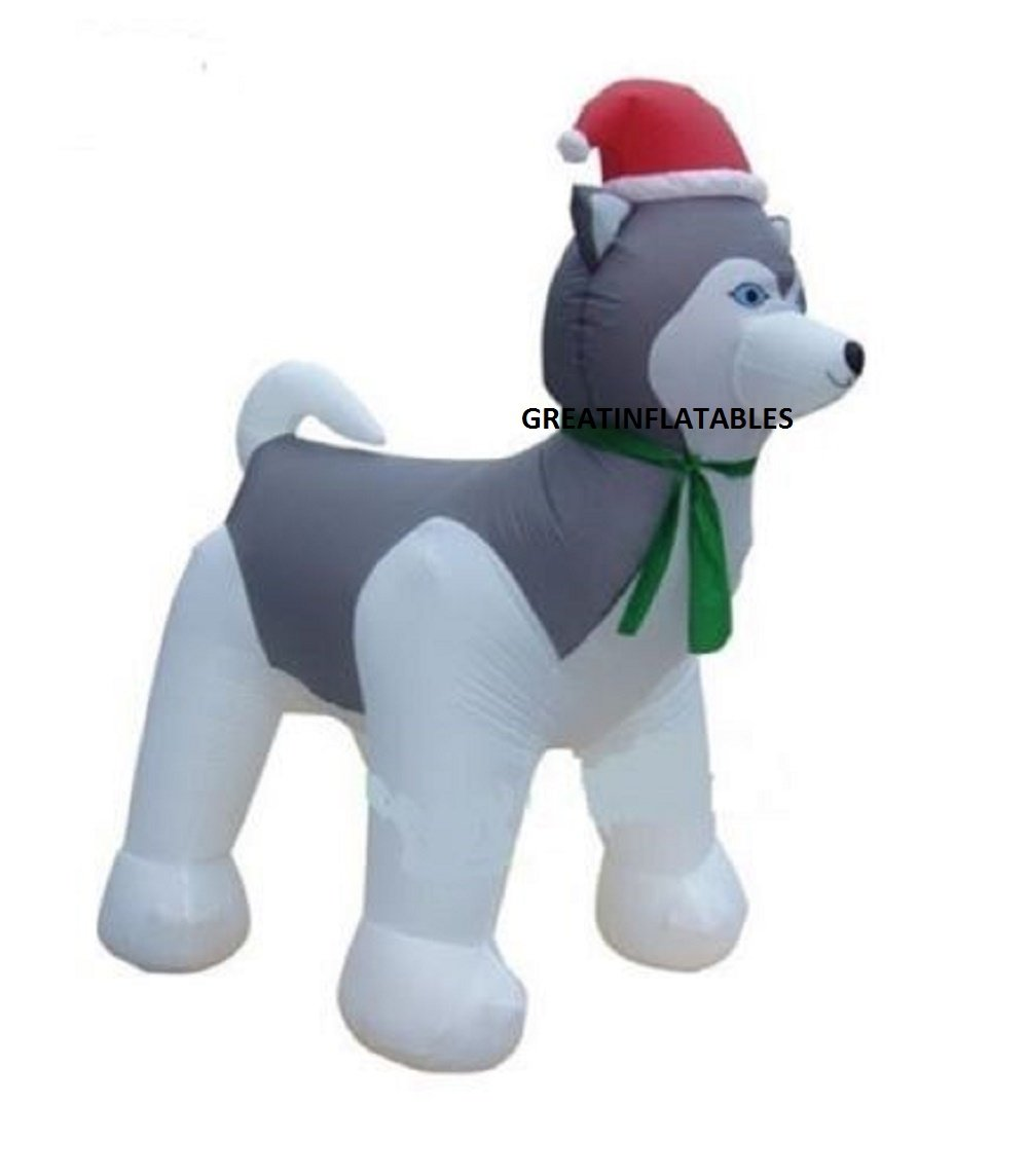 CHRISTMAS INFLATABLE 7' HUSKY DOG WITH SANTA HAT OUTDOOR YARD DECORATION by Unknown