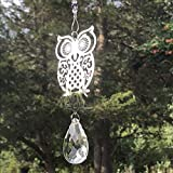 OWL Thin Metal Silver Suncatcher PURPLE HUES Crystals Drop Shape Crystal Sun Catcher 4240