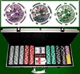 500 Count Ben Franklin Poker Set - 14 Gram Clay Composite Chips with Aluminum Case, Playing Cards, & Dealer Button for Texas Hold'em, Blackjack, & Casino Games by Brybelly