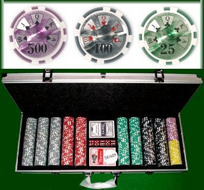 500 Count Ben Franklin Poker Set - 14 Gram Clay Composite Chips with Aluminum Case, Playing Cards, & Dealer Button for Texas Hold'em, Blackjack, & Casino Games by Brybelly by Brybelly