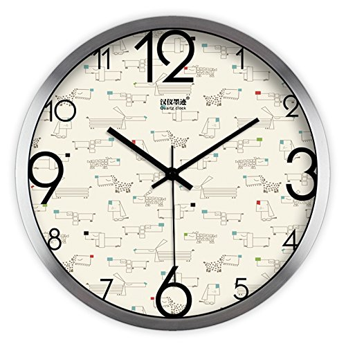 - FortuneVin Wall Clock Silent movement Wall Clock Home Office Decor for Living Room Bedroom and Kitchen Clock Wall Creative Animated Color Point Dog Modern Mute Quartz755,14 In Silver