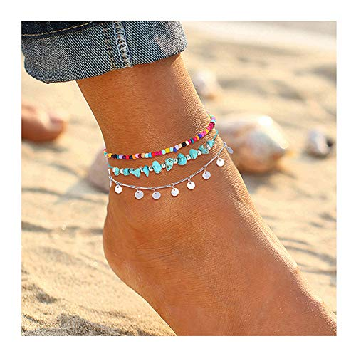 YAHPERN Anklets for Women Girls Color Beads Turquoise Drop Sequin Charm Adjustable Ankle Bracelets Set Boho Multilayer Beach Foot Jewelry
