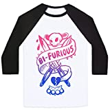 LookHUMAN Bi-Furious White/Black XL Mens/Unisex Baseball Tee by