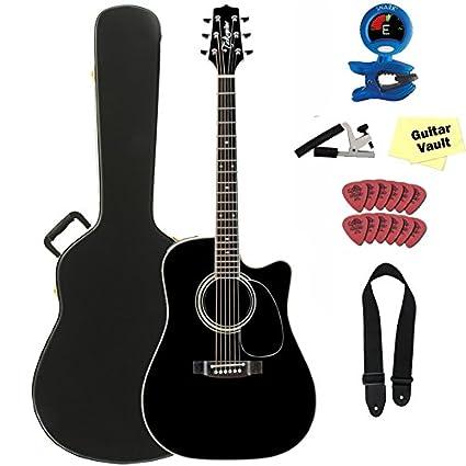 TAKAMINE ef341sc negro brillante acústica guitarra eléctrica con ...