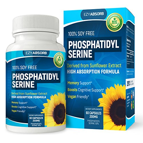 EzyAbsorb PhosphatidylSerine Nootropic, 200mg, 60 veggie capsules, Soy-Free PS100, derived from Sunflower Lecithin