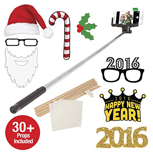 ReTrak ETSELFPHB Bluetooth Selfie Holidays Photo Booth with 30 Props, Black