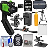 Olympus Tough TG-Tracker UHD 4K Wi-Fi GPS Shock Waterproof Video Camera Camcorder (Green) + 64GB Card + Backpack + Battery & Charger + Tripod + Actions Mounts Kit