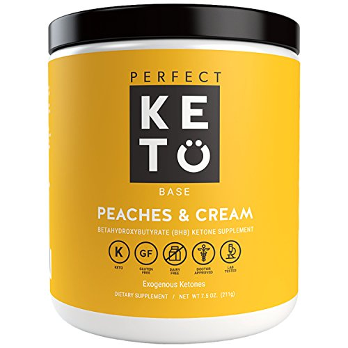 Perfect Keto Base Exogenous Ketone Supplement - Beta-Hydroxybutyrate (BHB) Salts Developed to Burn Fat, Increase Energy and Kickstart Ketosis.(211g) (Peaches and Cream)