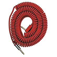 VOX VCC090RD 29.5-Feet Vintage Coiled Right Angle Stereo Guitar Instrument Cable, Red