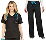Med Couture Signature V-Neck Top & Signature Straight Leg Pant Scrub Set[XS - 3XL]