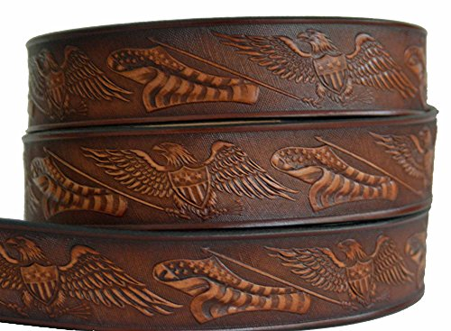 High Springs Leather Eagle American Flag Name Belt (36) - Mens Leather Usa Flag