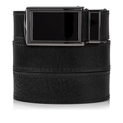 Top Grain Black Leather Belt with Black Buckle